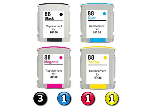 6 Pack Combo Compatible HP88XL (3BK/1C/1M/1Y) ink cartridges